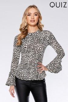 Quiz Leopard Print  Long Sleeve Top