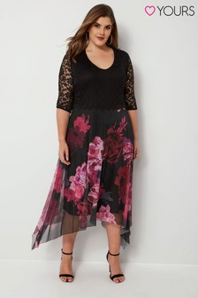 Yours Curve Floral Lace Overlay Mesh Dress