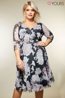 Yours Floral Mesh Wrap Dress
