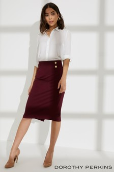 Dorothy Perkins Button Pencil Skirt