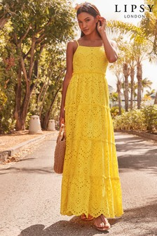 Lipsy Button Front Broderie Maxi Dress