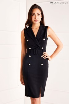 Mela London Sleeveless Military Pencil Dress
