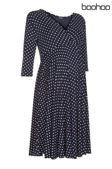 Boohoo Maternity Polka Dot Wrap Skater Dress