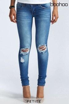 Boohoo Petite Low Rise Distressed Rip Knee Skinny Jeans