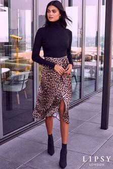 Lipsy Leopard Print Wrap Skirt