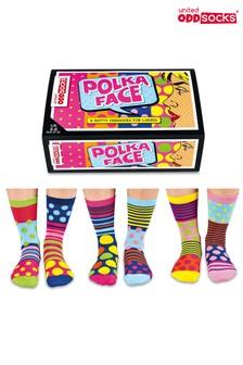 United Oddsocks Polka Face Sock 6 Pack