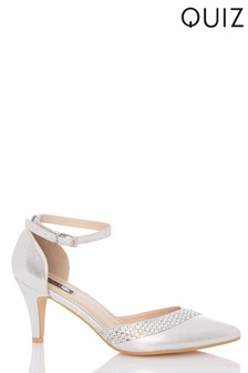 Quiz Low Heeled Diamanté Sandal