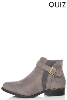 Quiz Gold Buckle Ankle Boots
