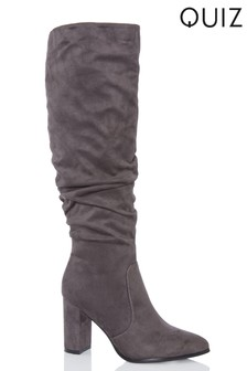 Quiz Ruched Block Heel Knee Boots