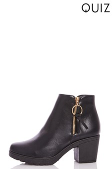 Quiz Faux Cleated Sole Ring Ankle Boot