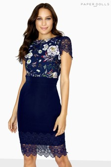 Paper Dolls Floral Printed Lace Trim Dress