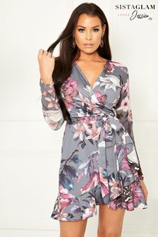Sistaglam Loves Jessica Floral Print Frill Wrap Dress