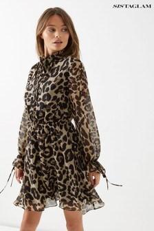 Sistaglam Animal Print Skater Dress