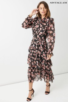 Sistaglam Tiered Ruffle Floral Maxi Dress