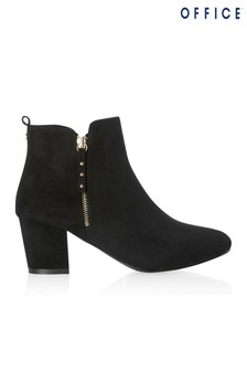 Office Side Zip Ankle Heeled Boot