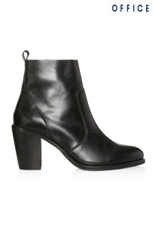 Office Leather Heeled Ankle Boot