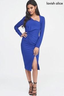 Lavish Alice Twist Front Asymmetric Midi Dress