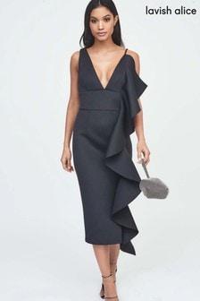 Lavish Alice Asymmetric Draped Frill Midi Dress