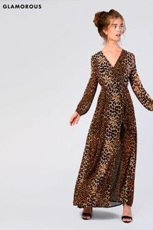 Glamorous Animal Print Wrap Around Maxi Dress