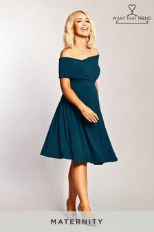 Want That Trend Maternity Bardot Midi Dress