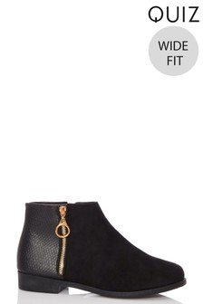 Quiz Wide Fit Ring Ankle Boot
