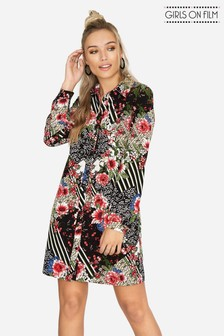 Girls On Film Printed Shirt Dress