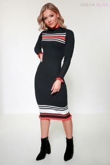 Urban Bliss Stripe Ruffle Rib Midi Dress