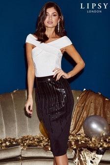 Lipsy Sequin Top Bardot Bodycon Dress