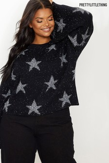 PrettyLittleThing Curve Flare Sleeve Star Jumper