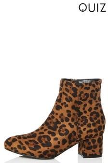 Quiz Leopard Block Heeled Boot