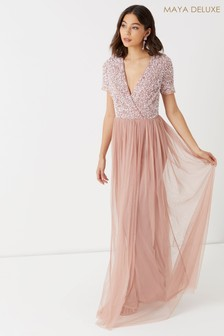 Maya Embellished Wrap Front Cap Sleeve Maxi Dress