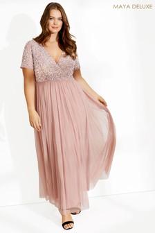 Maya Curve Embellished Wrap Front Maxi Dress