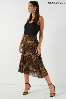 Glamorous Animal Print High Waisted Midi Skirt