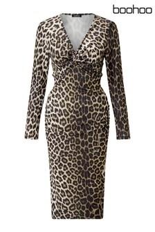 Boohoo Maternity Twist Front Midi Dress