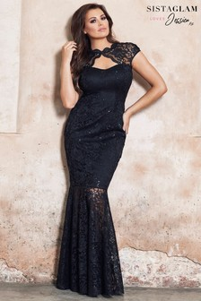 Sistaglam Loves Jessica Petite Keyhole Sequin Lace Maxi Dress