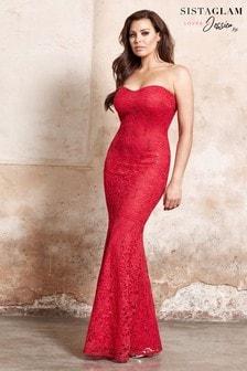 Sistaglam Loves Jessica Fishtail Bandeau Maxi Dress