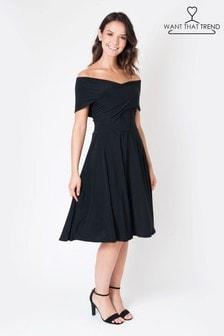 Want That Trend Twist Front Bardot Skater Midi Dress