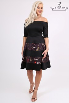 Want That Trend Off Shoulder Skater Midi Dress