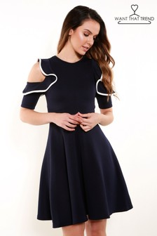 Want That Trend Ruffle Shoulder Skater Dress