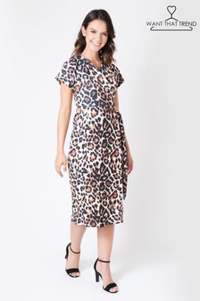 Want That Trend Animal Print Wrap Dress