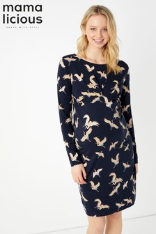 Mamalicious Maternity Ave Long Sleeve Jersey Short Maternity Dress