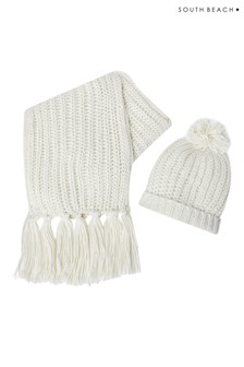 South Beach Chunky Knit Metallic Hat And Scarf Set