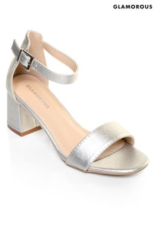 Glamorous Low Heel Metallic Sandals