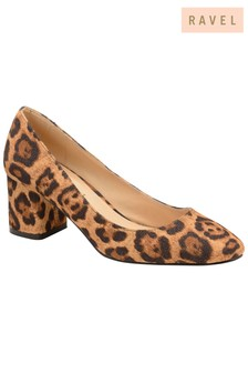 Ravel Leopard Print Block Heel Court Shoe