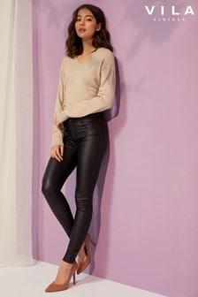 Vila PU Coated Skinny Jeans