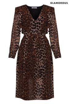 Glamorous Curve Animal Print Midi Dress