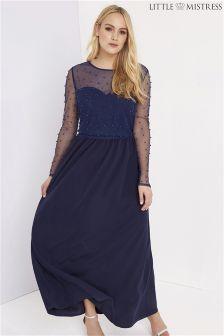 Little Mistress Curve Pearl Maxi Dress