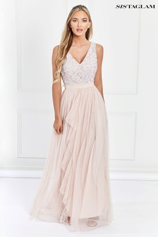 693182235d9 Sistaglam V neck Maxi Dress With Sequined Top