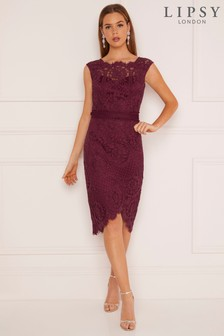 Lipsy VIP Asymmetric Lace Bodycon Dress