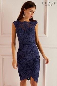 Lipsy VIP Lace Asymmetric Hem Midi Dress